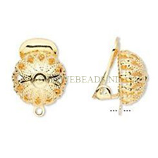GOLD PLATED CLIP ON EARRINGS,  WITHOUT PIERCED EARS!